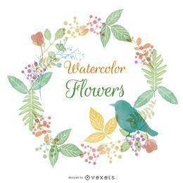 Marco de flores y naturaleza acuarela