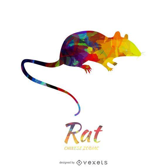 Ilustración de rata del horóscopo chino