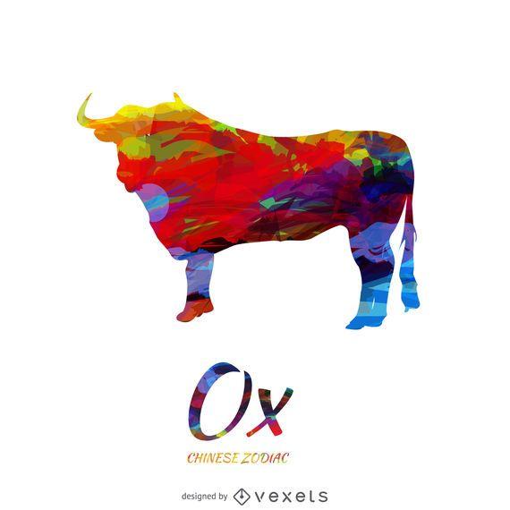 Chinese zodiac ox drawing