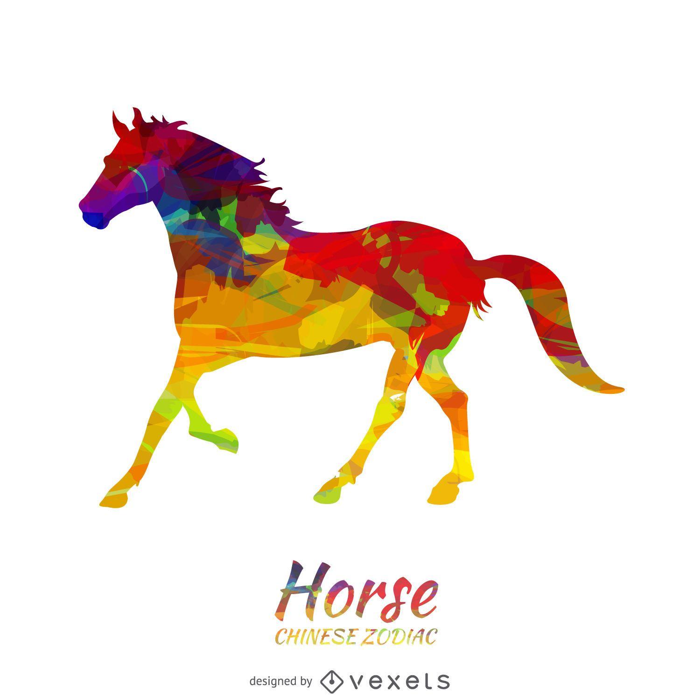 Ilustración de caballo horóscopo chino