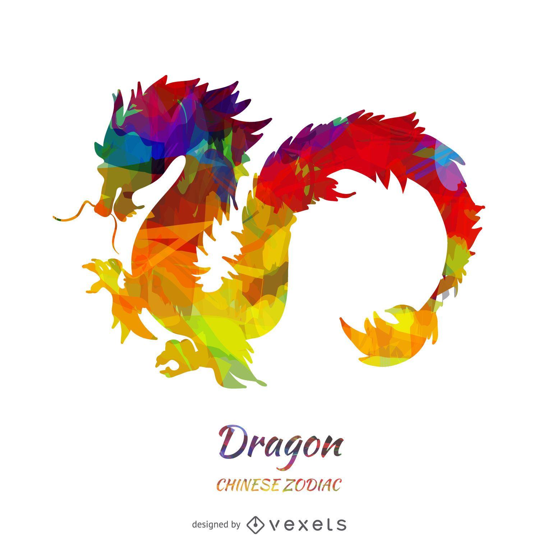 Ilustración de dragón del zodiaco chino