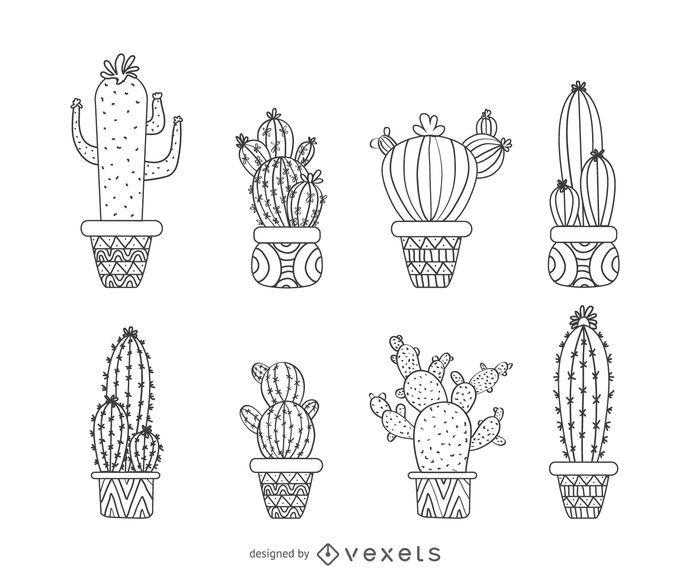 Dibujado a mano colección de cactus de contorno