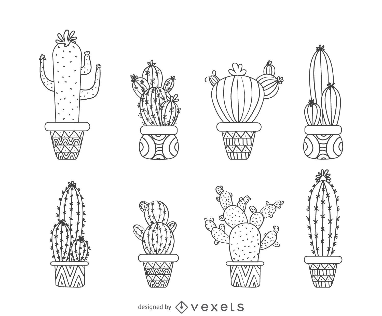 Colección cactus contorno dibujado a mano