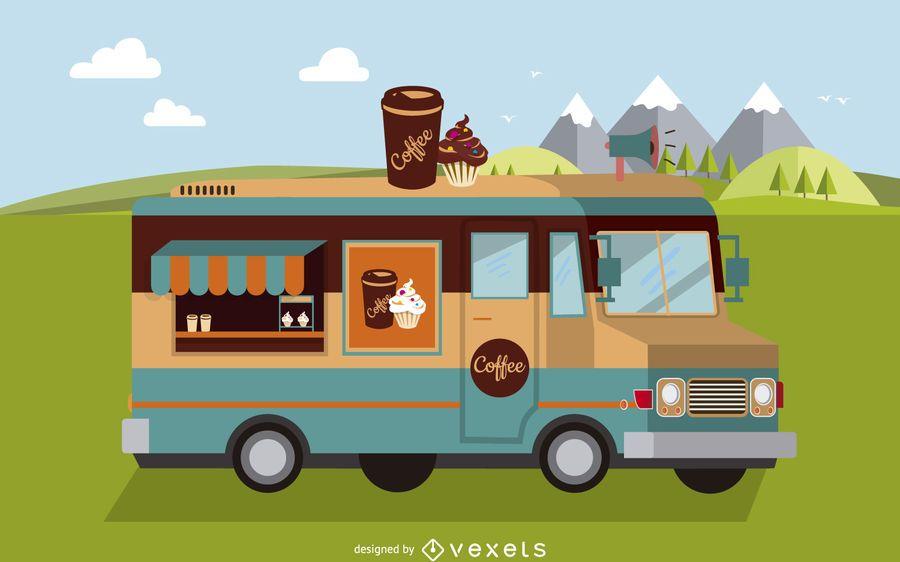 Ilustración de camión de comida plana