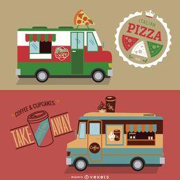 Conjunto de design de caminhão de comida