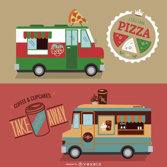 Conjunto de diseño de camión de comida.