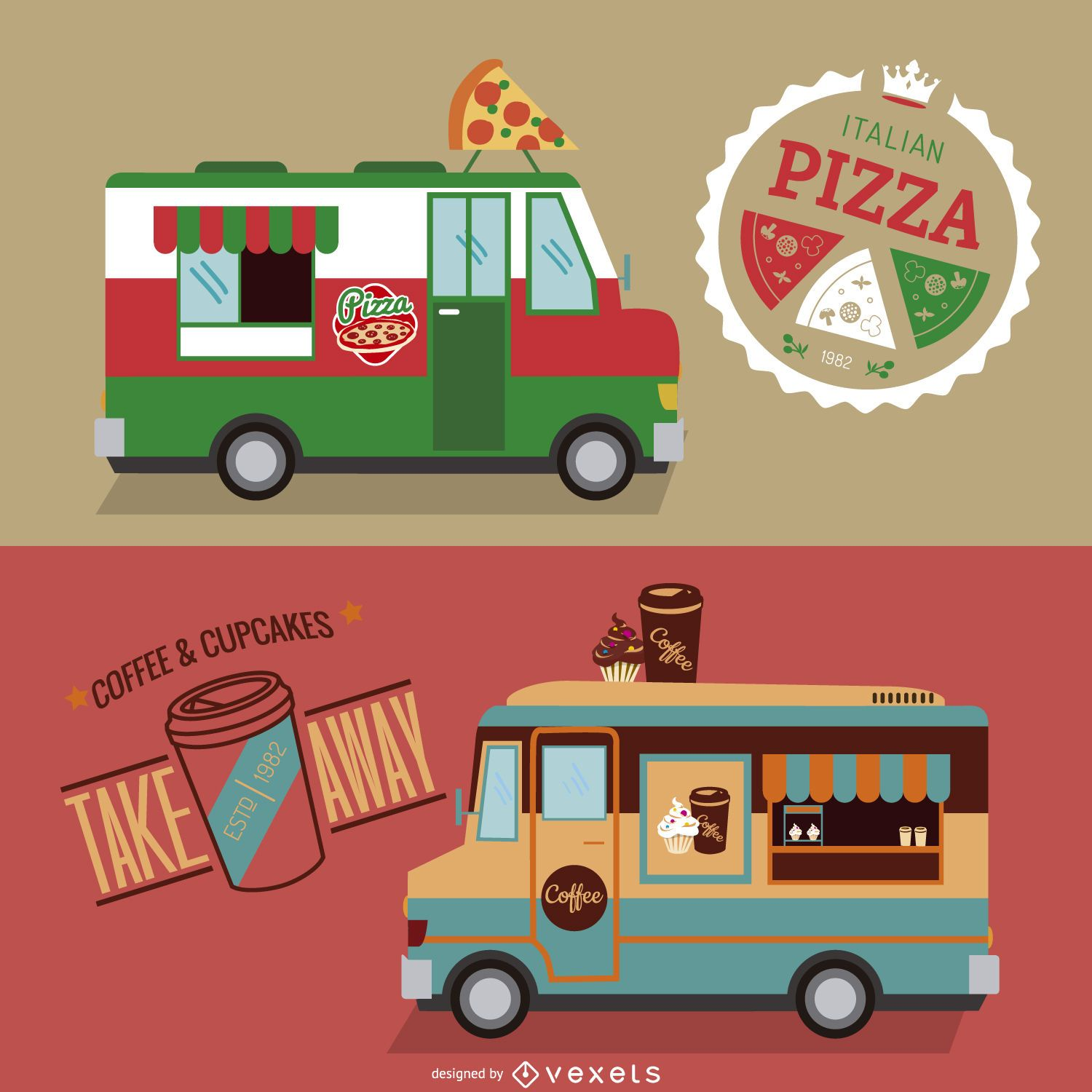 Food truck design set vector download for Design food truck online