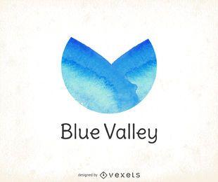 Blaues Aquarell-Logo