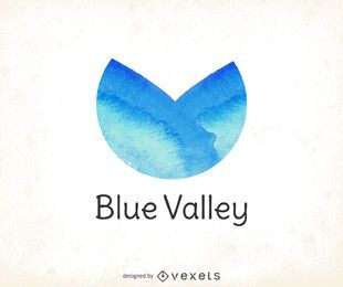 Blue watercolor logo