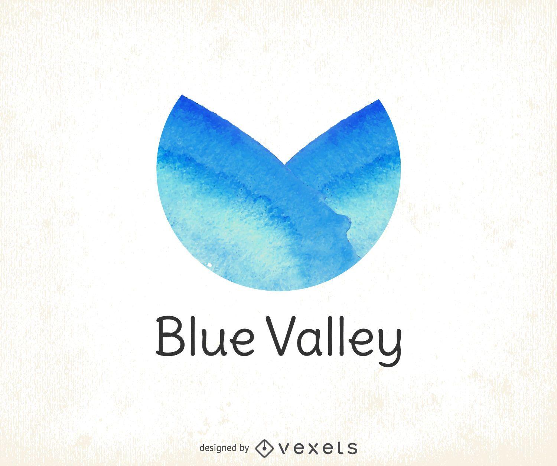 Logotipo de acuarela azul