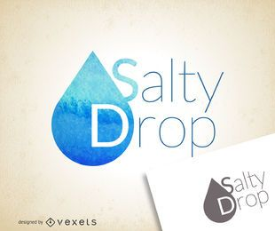Watercolor blue drop logo