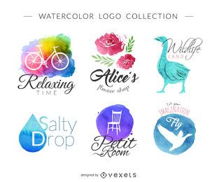 Watercolor logo set