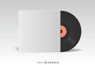 Maqueta de cubierta blanca de vinilo LP