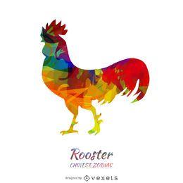 colorido gallo chino del zodiaco