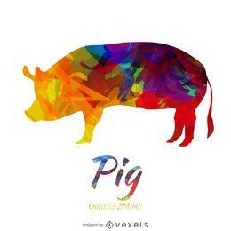Farbiges Schwein - chinesischer Tierkreis