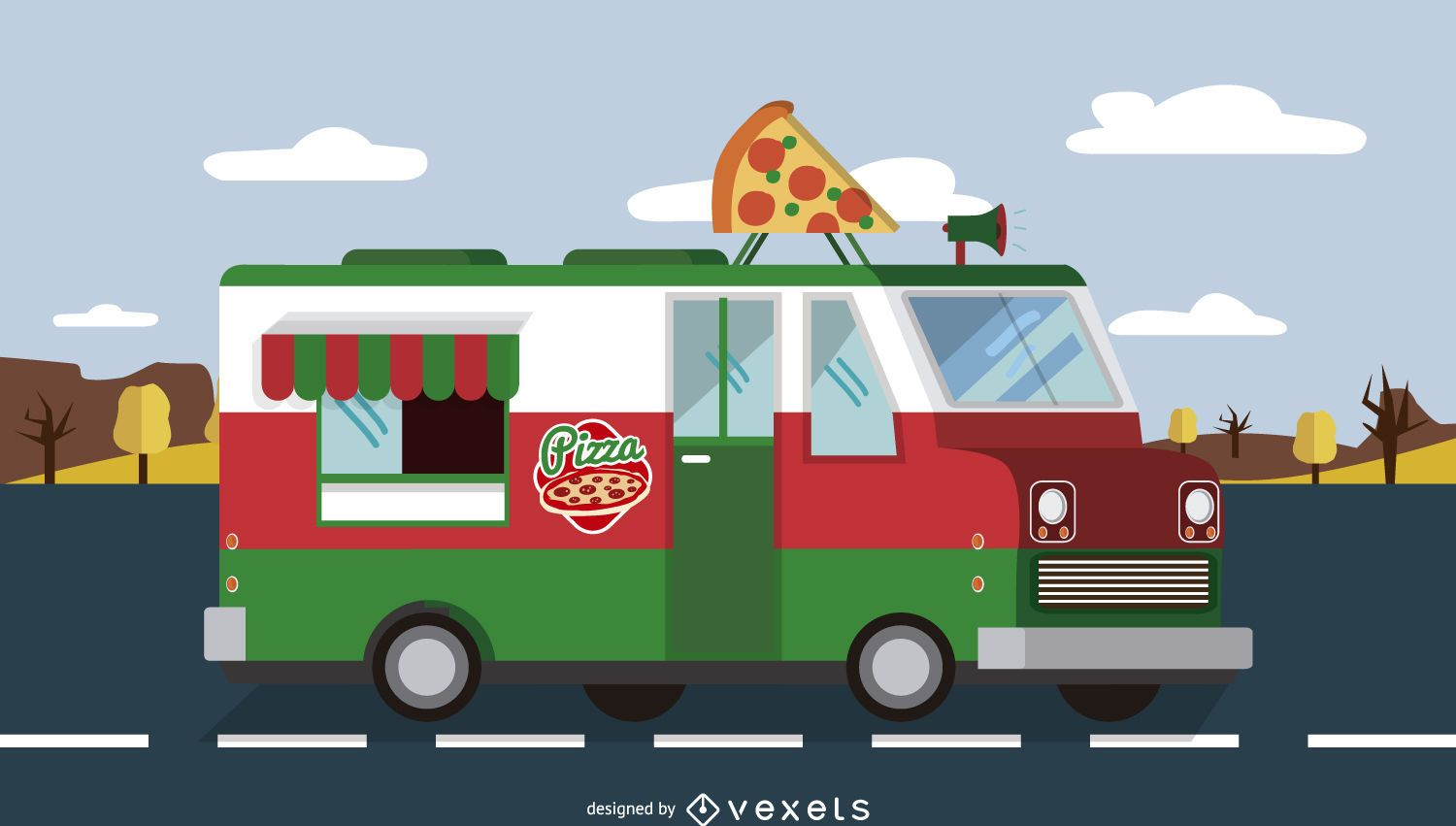 Pizza foodtruck on the road vector download for Design food truck online