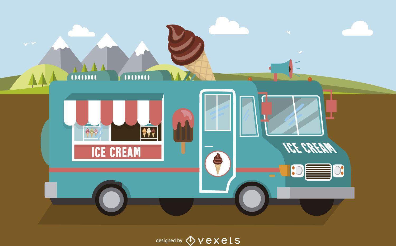 Light-blue ice-cream foodtruck