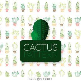 Patrón de cactus de color de línea delgada