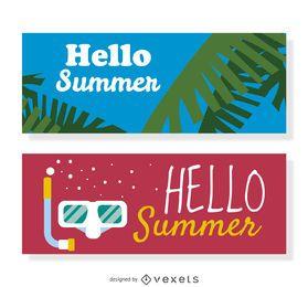 Olá conjunto de banner de verão
