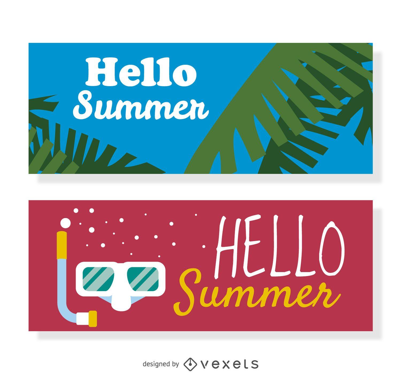 Hello summer banner set