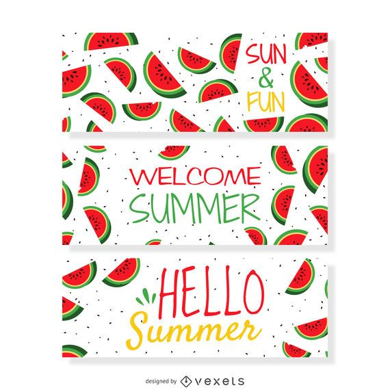 Summer watermelon banner set