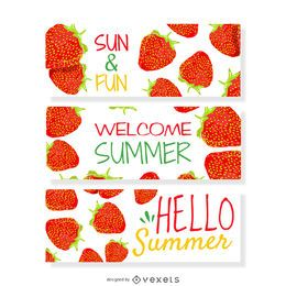 Strawberry summer banner set