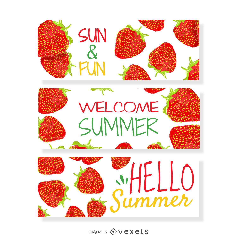 Strawberry summer banner set