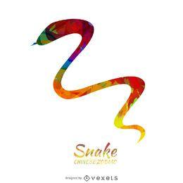 Ilustração da serpente do zodíaco chinês colorido