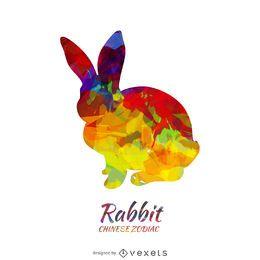 Chinesisches Horoskop-Kaninchenschattenbild