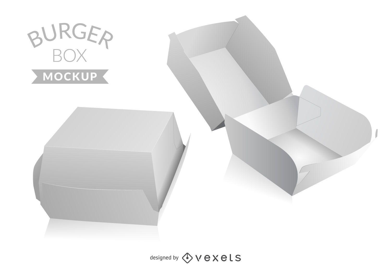 Burger Box Mockup Vector Download