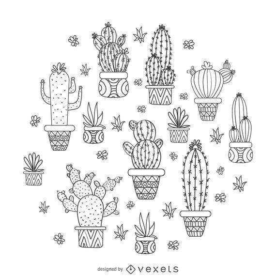 Dibujado a mano diseño de cactus