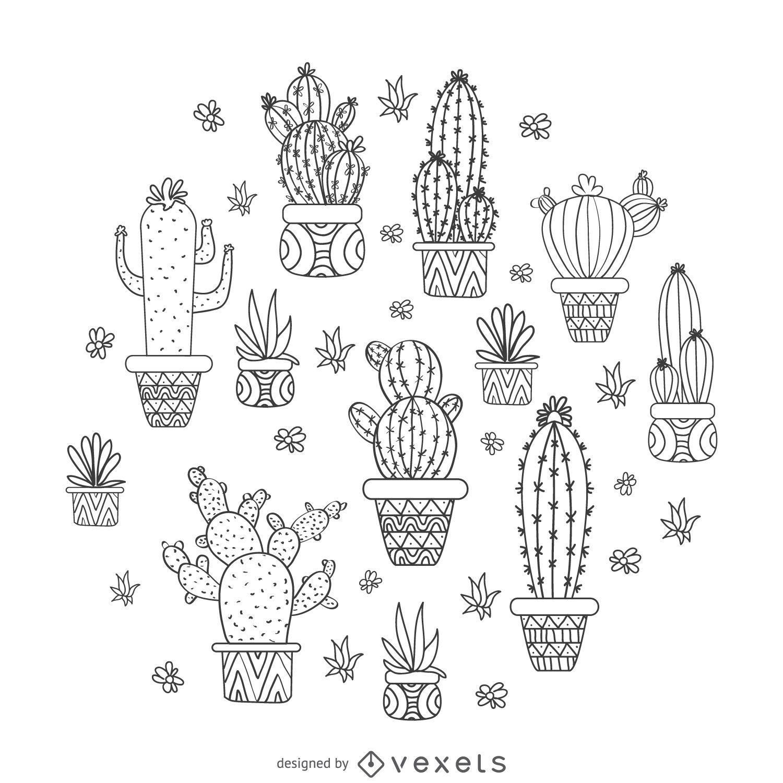 Diseño de cactus dibujado a mano