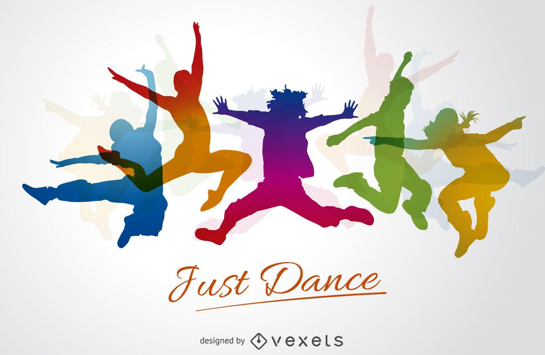 Siluetas de baile colorido