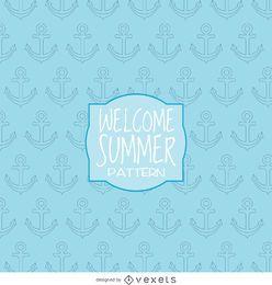 patrón de dibujo del ancla del verano