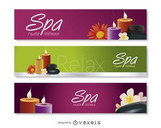 Conjunto de banners de spa y relax.