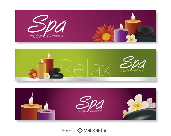 Spa and relax banner set