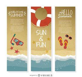 Conjunto de banner de costa de verão