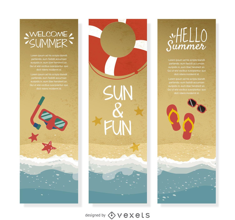 Conjunto de banners de orilla de verano