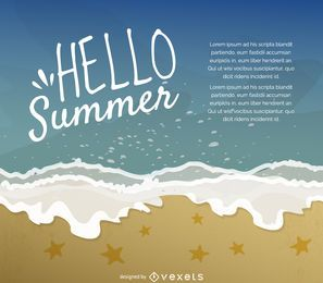 Hello summer illustration poster