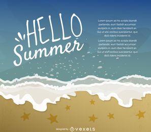 Hola cartel de ilustración de verano