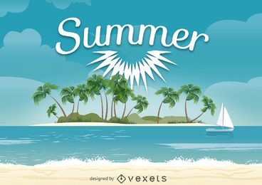 Diseño de ilustración de playa de verano