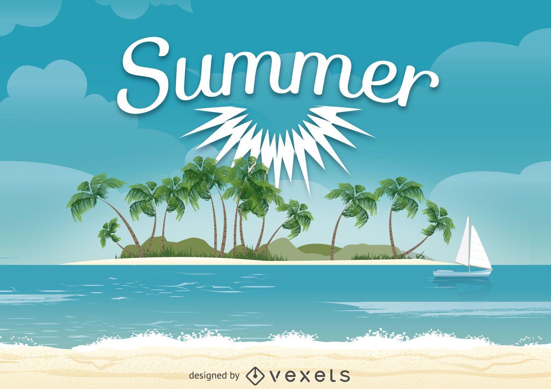 Projeto de ilustração de praia de verão