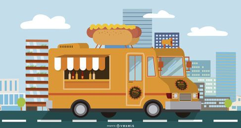 caminhão de comida de cachorro quente