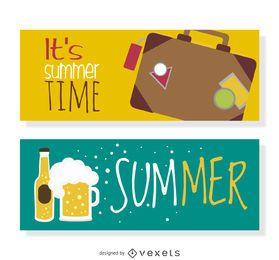 Banner de verano de cerveza y equipaje.