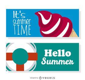 Conjunto de banners de elementos de verano