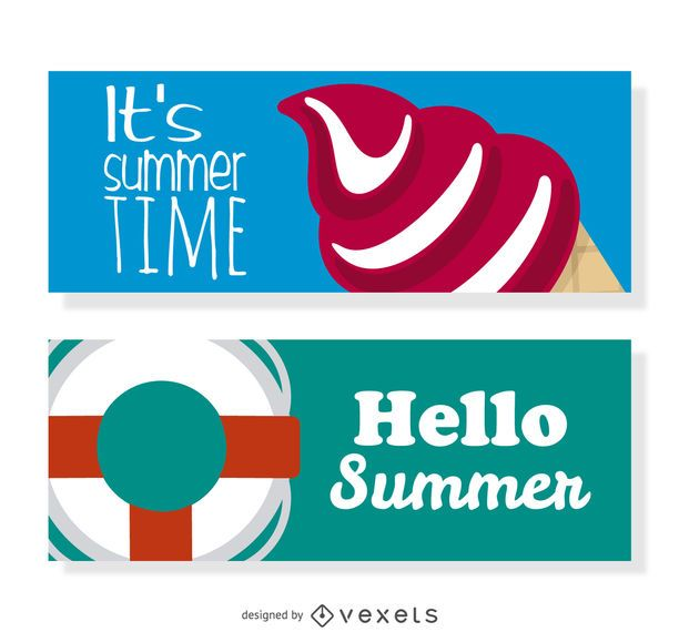 Summer elements banner set