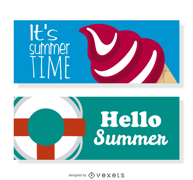 Conjunto de banner de elementos de verano