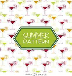 Padrão de bebidas de coquetel de verão
