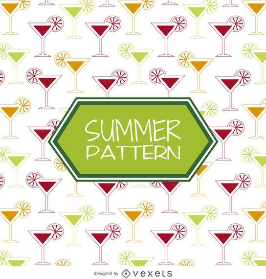 Summer cocktail drinks pattern