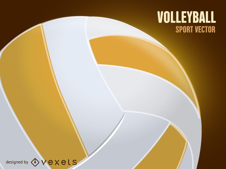 Ilustración de pelota de voleibol 3D